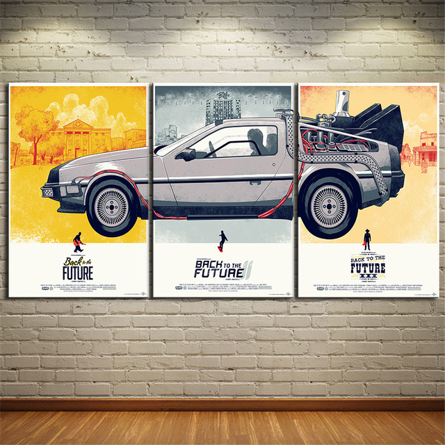 3 Piece Canvas Art Vintage Picture Wall Painting Back To The Future Oil Home