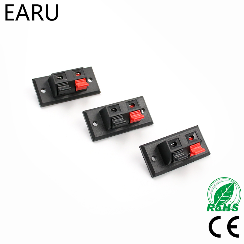 2017 Hot 5 Pcs 2 Positions Connector Terminal Push In Jack Spring Load Audio Speaker Terminals Plug Socket LED Aging Tester