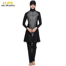 цена на 2017 Plus Size Muslim Swimwear Women Full Coverage Islam High Quality Black Swimsuit Arab Beach Wear Maillot De Bain Femme