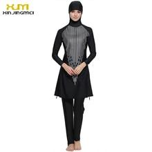2017 Plus Size Muslim Swimwear Women Full Coverage Islam High Quality Black Swimsuit Arab Beach Wear Maillot De Bain Femme