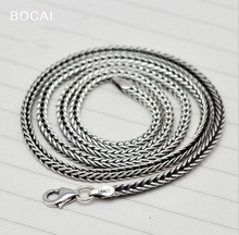 Thai silver, Fox tail necklace mens silver personalized retro snake chain charm man chain
