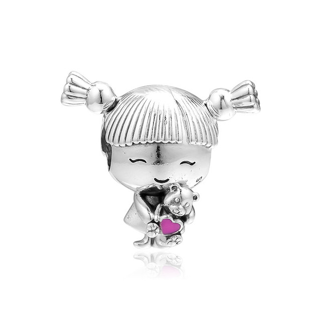 Pigtails Girl Silver Beads for Charms Bracelets Fashion Silver 925 Jewelry Family Daughter Bear Toy Enamel Beads DIY Jewelry