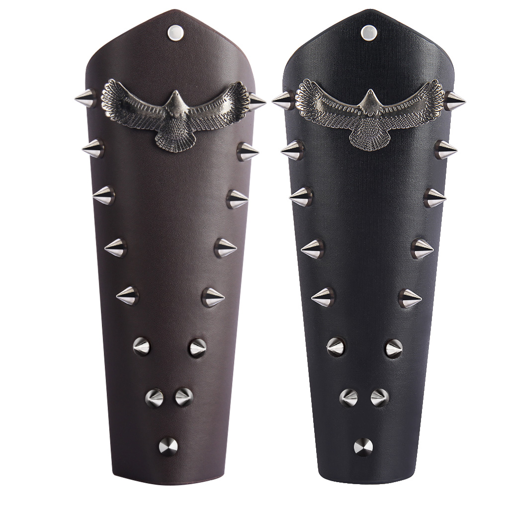 Soaring Eagle Gothic Gauntlet Cosplay Lace Up Medieval Bracers For Men Women Costume Party Wristband Arm Warmers