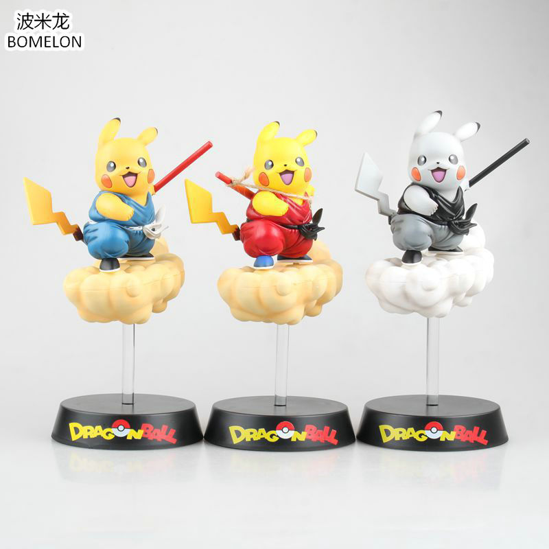 2017 New Dragon Ball Action Figure Pikachu Anime Figure Cos Son Goku Somersault Cloud Pvc Doll Toys Boys Christmas Gift new hot 18cm dragon ball son goku kakarotto ride a bike action figure toys collection doll christmas gift