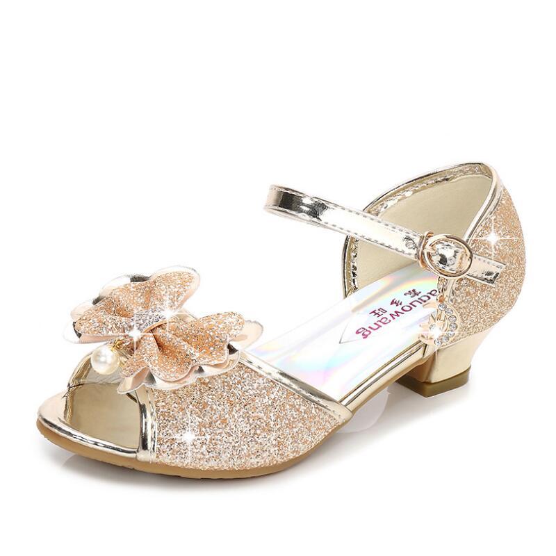 65e121cbc0 US $12.32 40% OFF SKHEK Girls Sandals Kids Shoes For Girls Dress Shoes  Little High Heel Glitter Summer Princess Party Wedding Sandal Children  Shoe-in ...