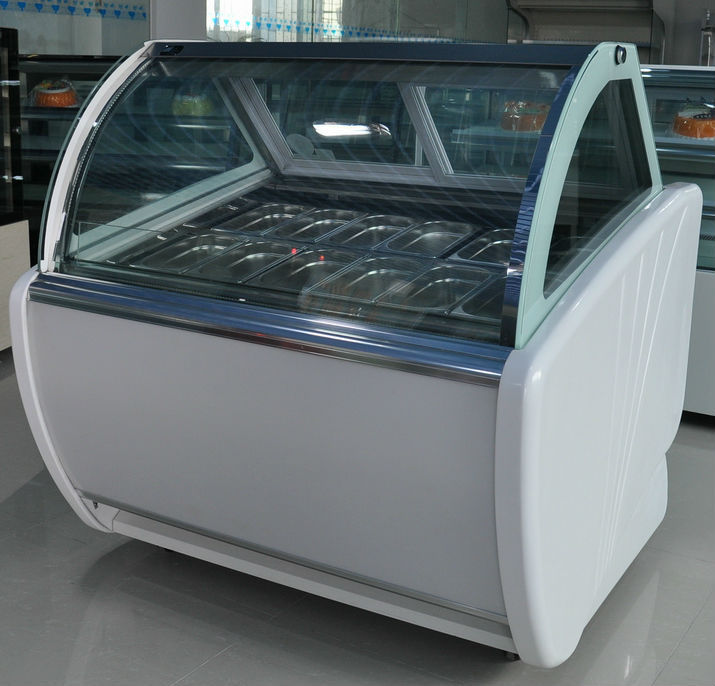 2016 Hot Sale Factory Price White Marble Hot Sale Soft Ice Cream Display Freezer Showcase