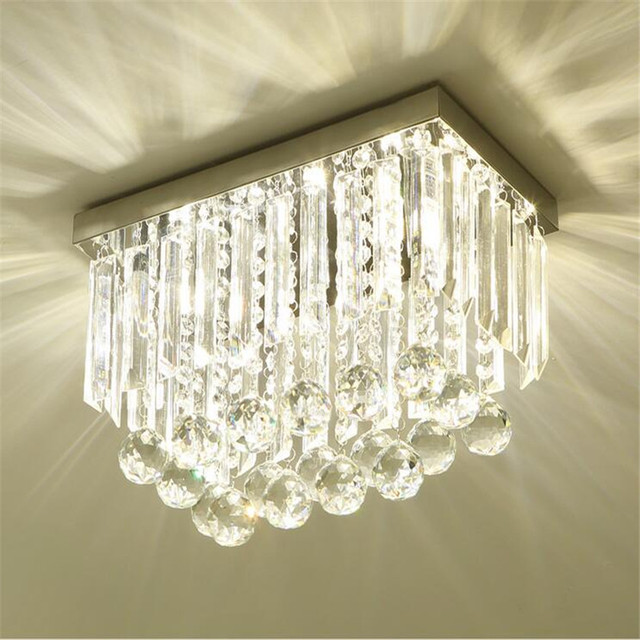 Stainless steel led ceiling lights plafonnier led crystal lamp lampara illumination for dinning room suspension lustre