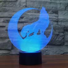 LED 3D Lamp Dimensional Moon Wolf Night