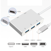 5 in 1 USB C to 2K HDMI 1080P VGA Adapter Thunderbolt 3 Port Compatible USB 3.0 Converter For Macbook for Samsung S8