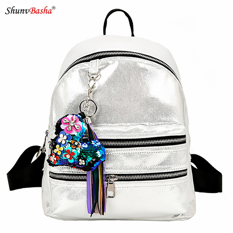 Female new bright side backpack 2017 European and American Women autumn and winter school students personalized