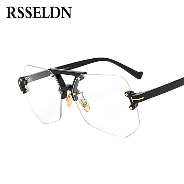 691fe57b6 RSSELDN الأزياء واضح شفافة إطارات النظارات للنساء الرجال 2019 الذكور إطارات  نظارات طبية بدون شفة غير