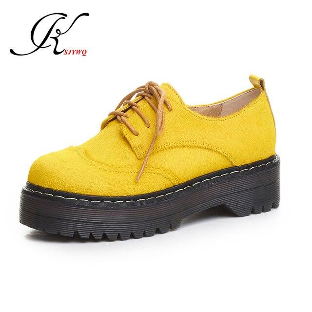 Zapatos amarillos con cordones para mujer aU4NeM