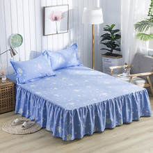 New Waterproof Blue Flowers Printing Bed Skirt With Surface Bed Mattress Cover Sheet Home Textile Bed Linens(43cm Height)(China)