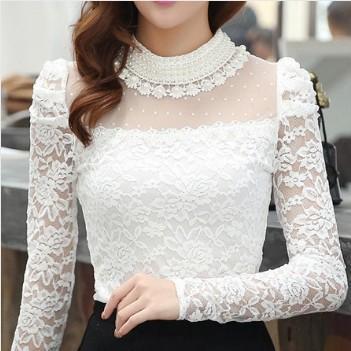 Plus size 2016 Nova moda das Mulheres Camisas Primavera Estande Pérola Gola de Renda de Crochet Blusa Camisas manga comprida sexy tops preto/Branco
