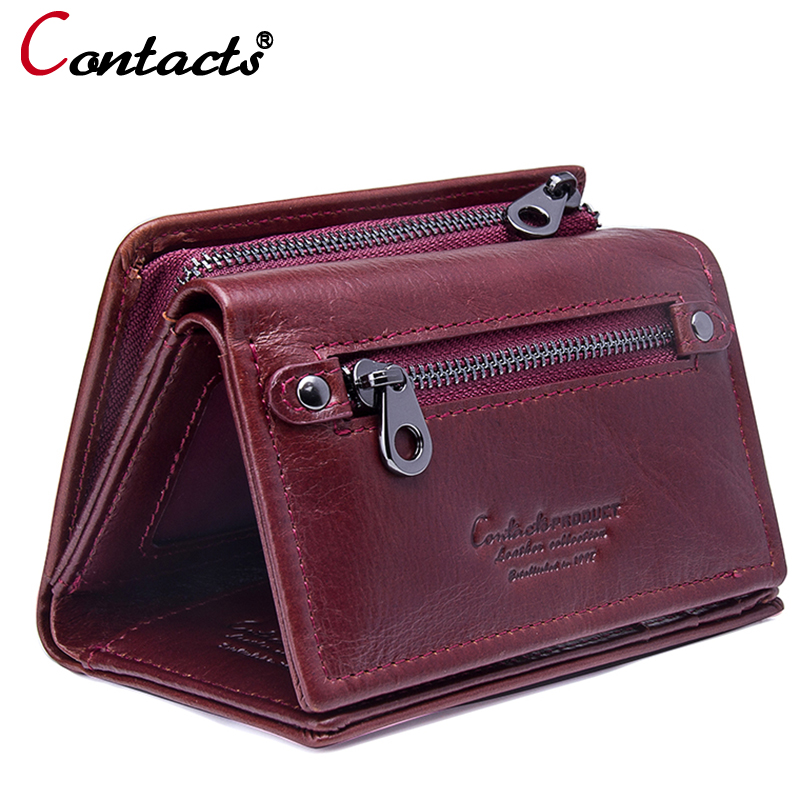 все цены на Contact's genuine leather Women wallets and Purses female coin purse small money card holder clutch female Design red wallet new