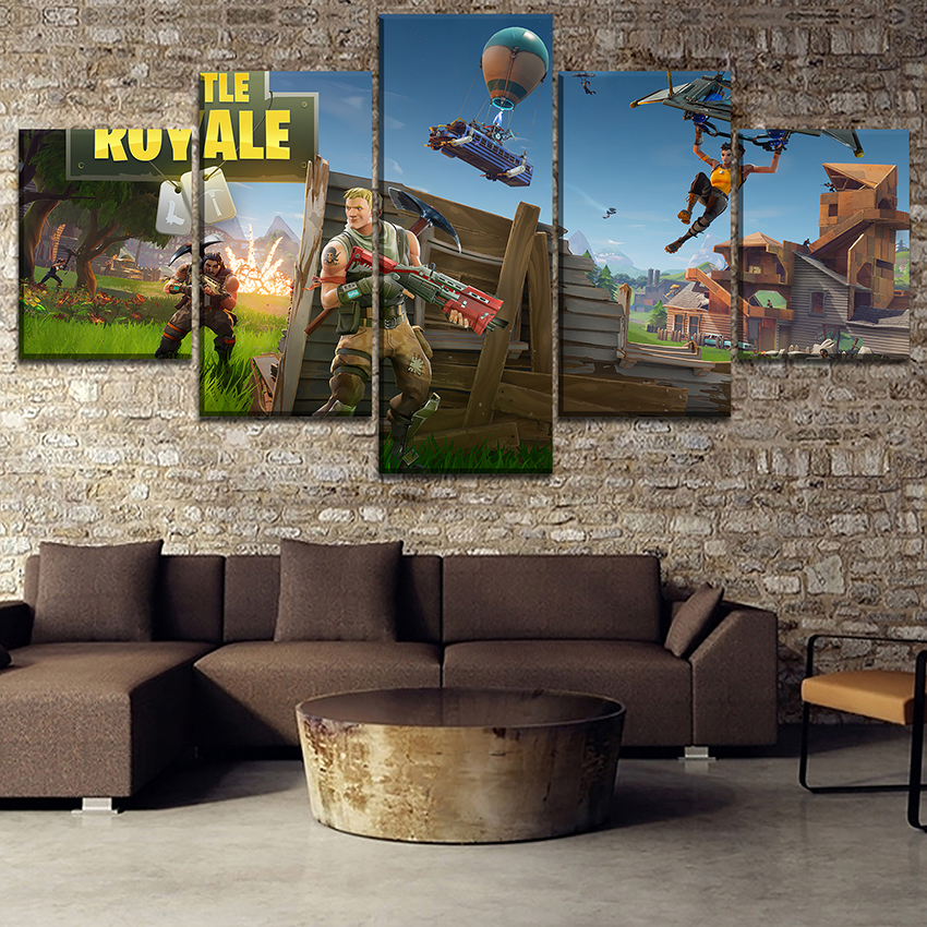 Modern Artwork Decorative Framework 5 Pieces Fortnite Paintings Wall Art Game Poster Modular Pictures Canvas Printing Type