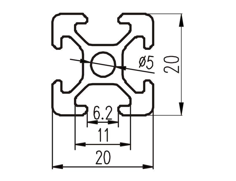 European Standard 2020 Industrial Aluminum Profile For 3d Printer