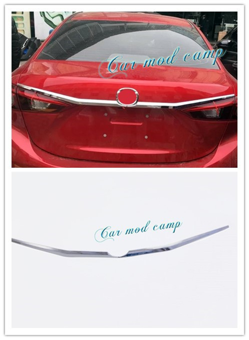 For Mazda 3 Axela 2014 2015 2016 2017 Sedan ABS Rear Tail Trunk Lid Molding Cover Trim 2pcs Car Styling Accessories!! for mazda 3 axela hatchback sedan 2014 2015 2016 abs high quality air conditioning ac control switch cd panel cover trim 1 pcs