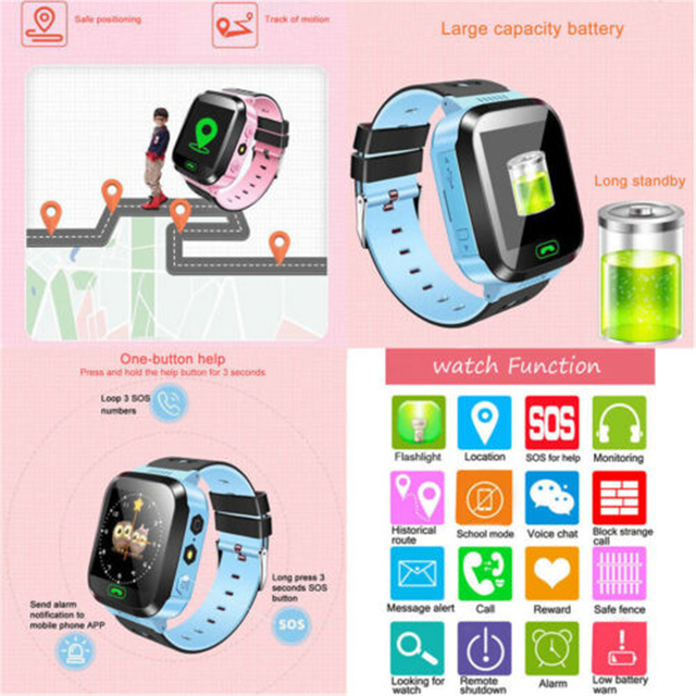 Children Kids Smart Watch LBS Positioning Tracker Not GPS SOS Call Safe Anti-lost Monitor Touch Screen Phone Watch Lovely Gift 2