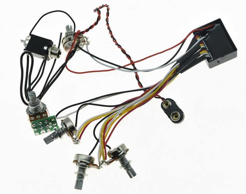 3 Band EQ Preamp Circuit Cablaggio per basso elettrico per pickup per basso
