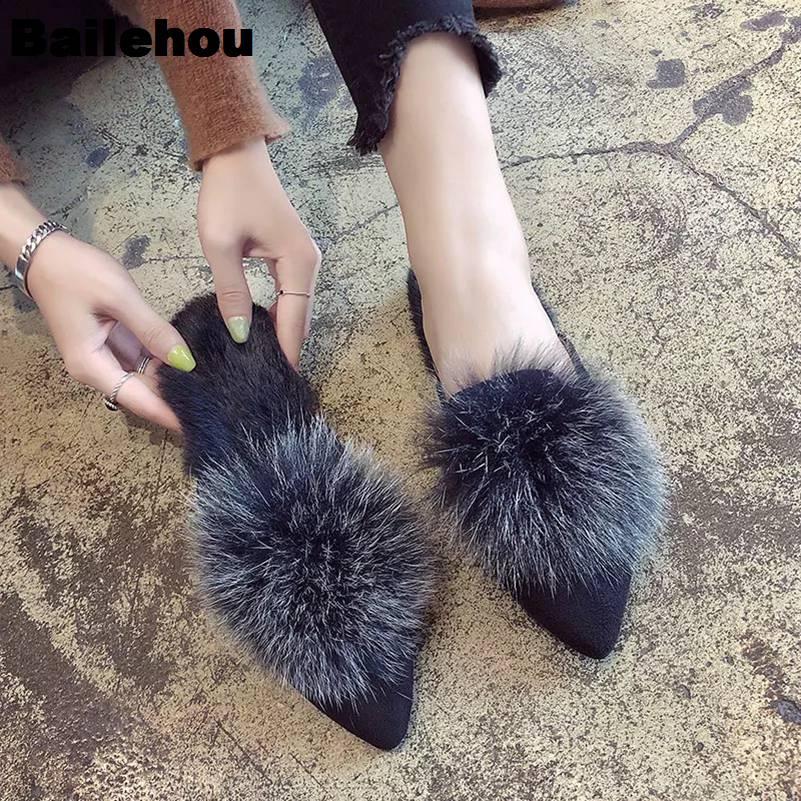 d8913acbe5d Detail Feedback Questions about Bailehou Women Fur Slippers Warm Plush Home  Slides Slip On Pompon Mules Flip Flops Balls Shoes Flat Women Shoes  Zapatillas ...
