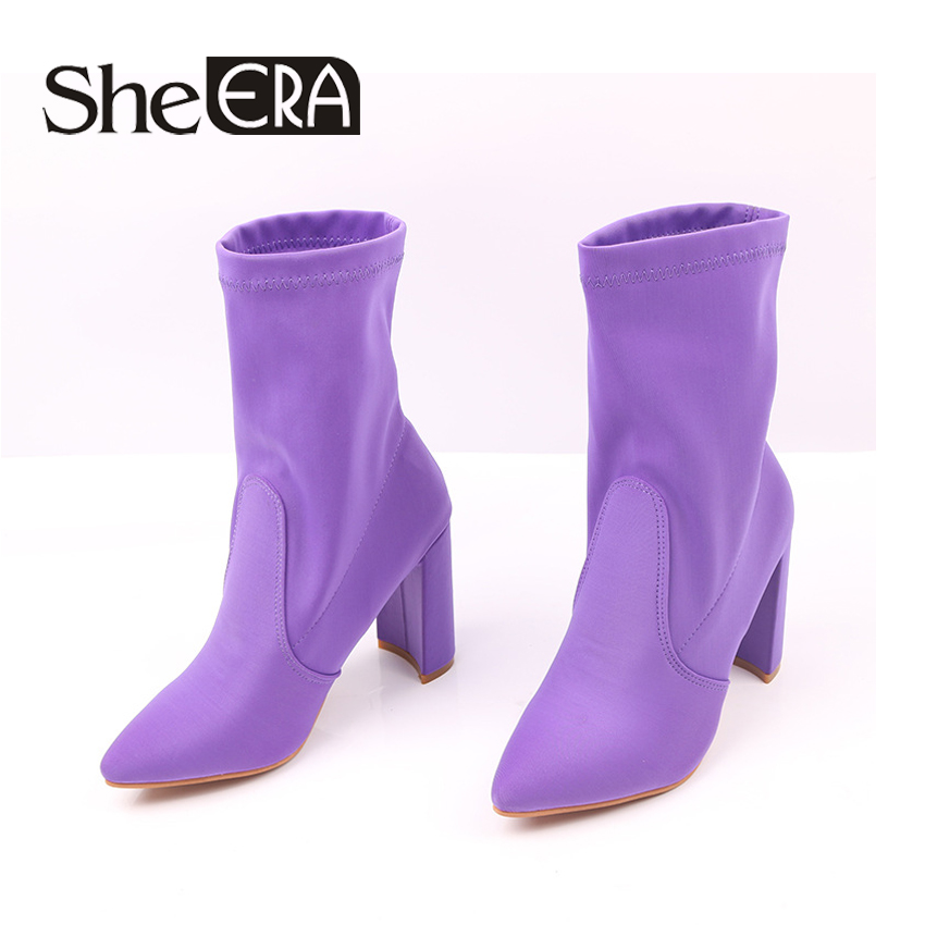 She Era 2017 New Fashion Sock Ankle Boots Silk Pointed Toe Autumn Women Boots Sexy Square High Heel Women Shoes size 34-43 fashion kardashian ankle elastic sock boots chunky high heels stretch women autumn sexy booties pointed toe women pumps botas