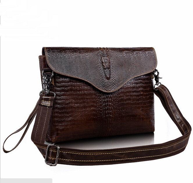 608925b9b6ac Real Genuine leather men bag New fashion crocodile leisure men s hand bag  shoulder bags Day clutch ipad bags men s briefcase-in Crossbody Bags from  Luggage ...