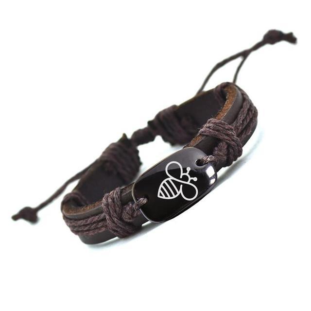 Customized  Bracelet Lovely Bee Leather Bracelet for Men