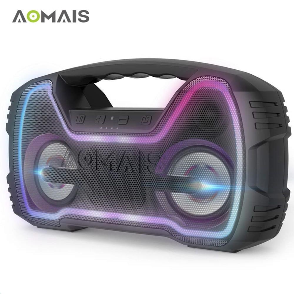 AOMAIS IR Mini Bluetooth Speaker com Luz LED Emparelhamento IPX7 20 w Superior de Som Estéreo Sem Fio Alto-falantes Portáteis À Prova D' Água