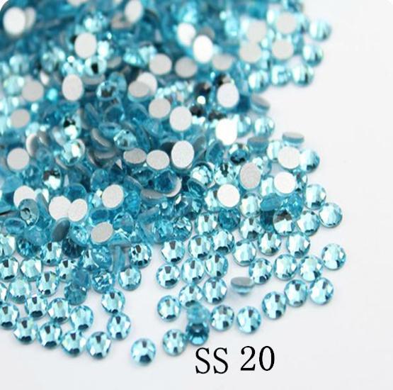 Super Brilhante 1440 PCS SS20 4.6-4.8mm Aquamarine Glitter Não Hotfix Série Blue Crystal Decorações Nail Art Natator strass
