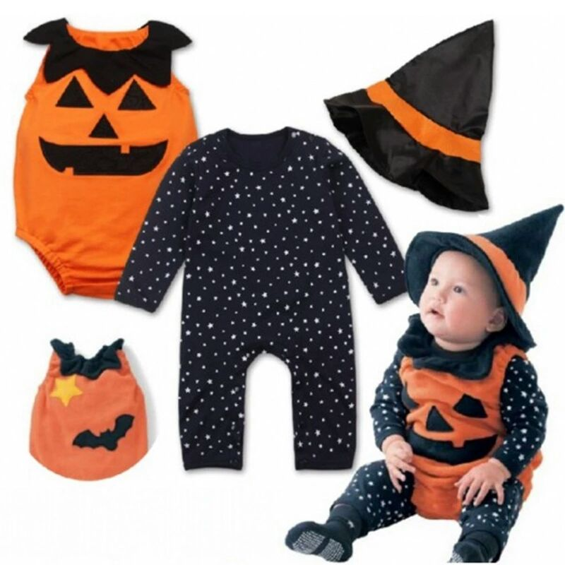Infant Kids Halloween Costume Child Cosplay Pumpkin Romper Toddler Outfits Bat Newborn Baby Costume Striped Bodysuit 3Pcs Sets
