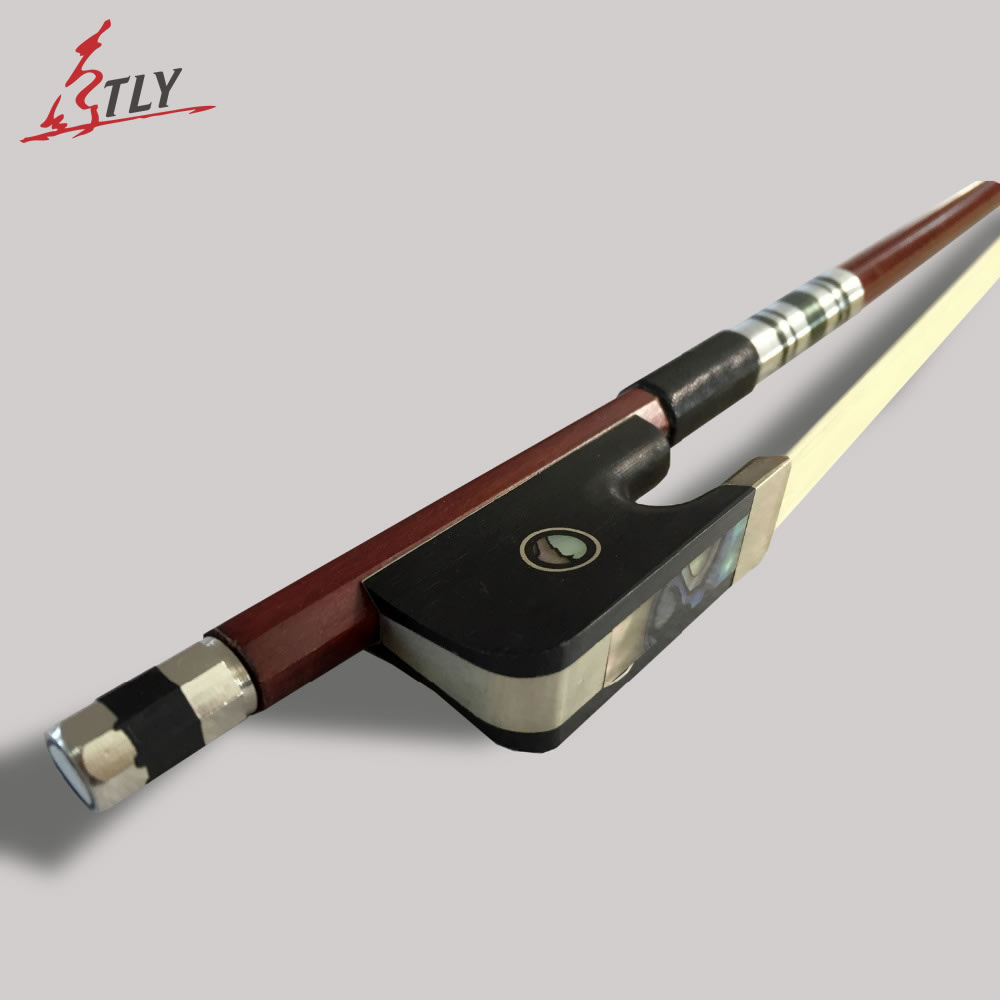 TONGLING High Grade Cello Bow Exquisite Brazil Wood Ebony frog w Colored Shell font b Horse
