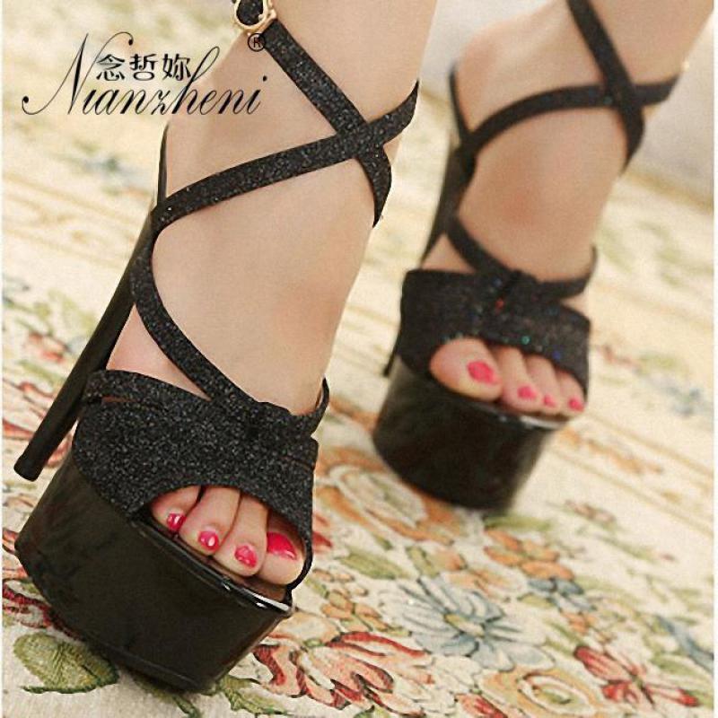 15cm High-heeled Sandals Nightclub Dance Shoes Summer Women's Glitter Black Pole Dancing Platform Model 6 Inch High Heels