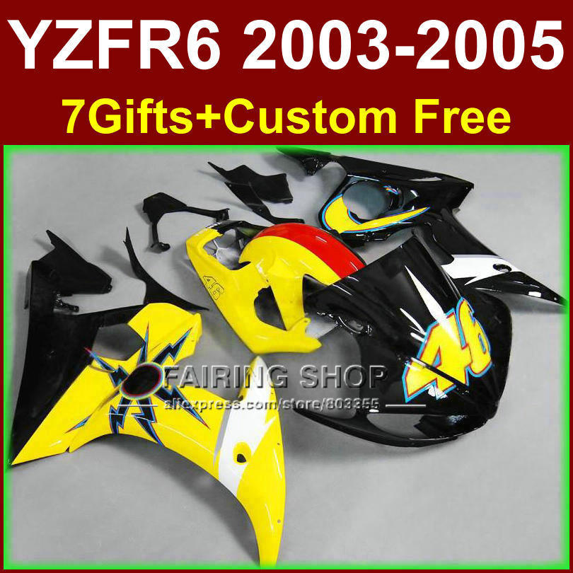 R646 Yellow black body parts for YAMAHA ABS fairings YZF R6 2003 2004 2005 fairing kit r6 03 04 05 +7gifts SJ7R