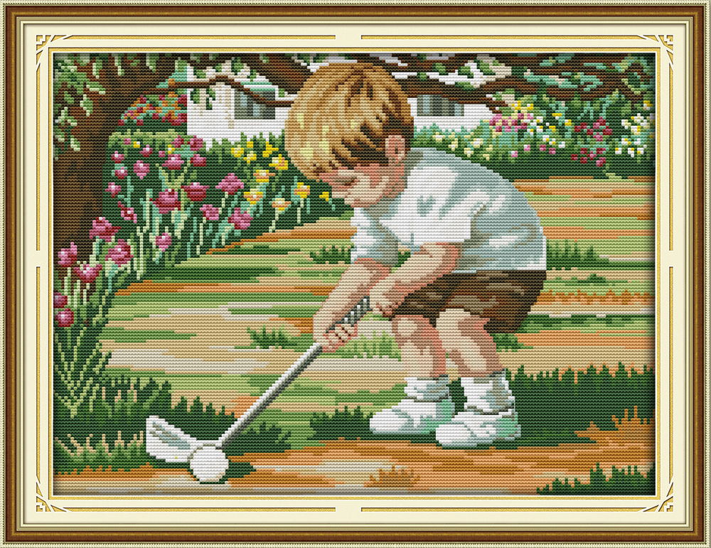The future of golf Counted Cross Stitch Pattern Sets 11CT 14CT Cotton Handmade Cross Stitch Kits Embroidery Needlework DIY Gift