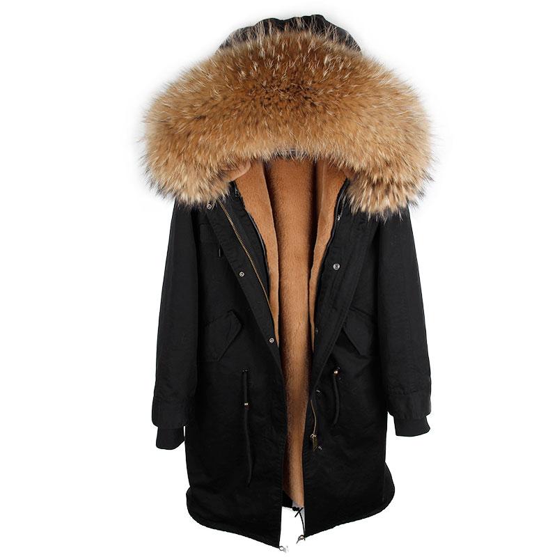 MAOMAOKONG 2018 casaco longo casaco Parkas Mujer Brasão plus size inverno parkas guaxinim naturais pele forro de jaqueta preta - 4