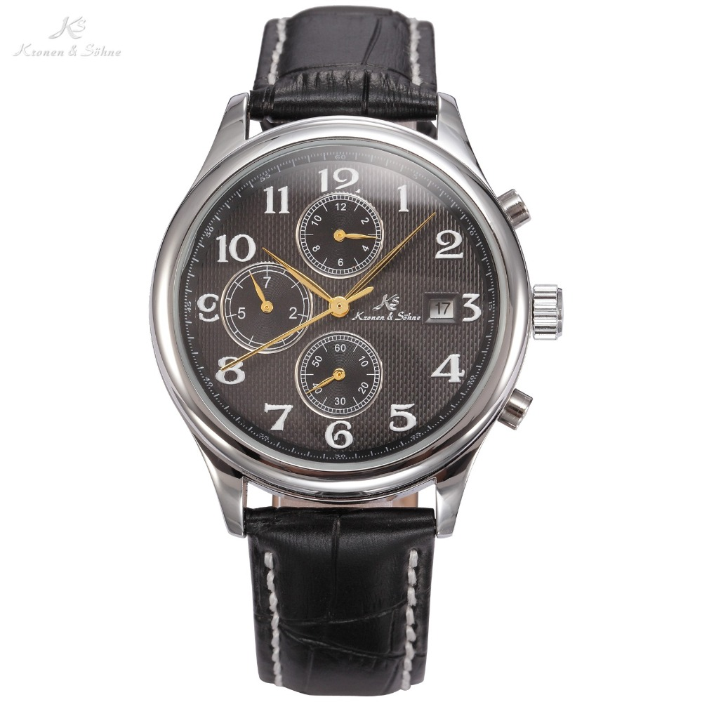 KS Luxury IMPERIAL Series Auto Mechanical Date Month Day Display Business Dress Silver Case Black Leather