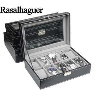 Rasalhaguer Top Sale 6 Grids PU Leather Watch Boxes Storage Organizer Box Luxury Jewelry Display Watch Case Black Free Shipping top leather watch box fashion pu black brand watch gift box hot sale watch storage boxes for men s luxury watch w025