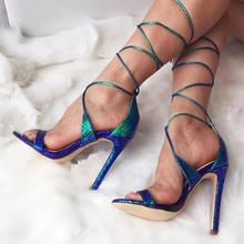 Fashion Blue Snakeskin Leather Ankle Strap Women Sandals Peep Toe Cut-out Cross Tie-up Gladiator Sandals Women High Heels Summer цена 2017