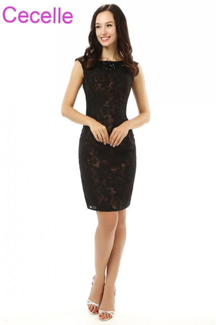 Black Lace Short Mother Of The Bride Dresses Sleeveless Ed Vintage Knee Length Sheath S Special