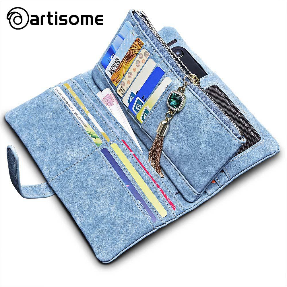 bilder für ARTISOME Leder Brieftasche Weibliche Fall Für iPhone 5 S 5 SE 6 6 S 7 Phone Tasche Fall Brieftasche Frauen Geldbörse Kartenhalter Passdecke Coque