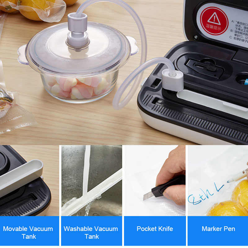 ANIMORE Food Vacuum Sealer Machine With 10pcs Bags Free For Food Saver Home 220V/110V Electric Packaging Machine Vacuum Sealer