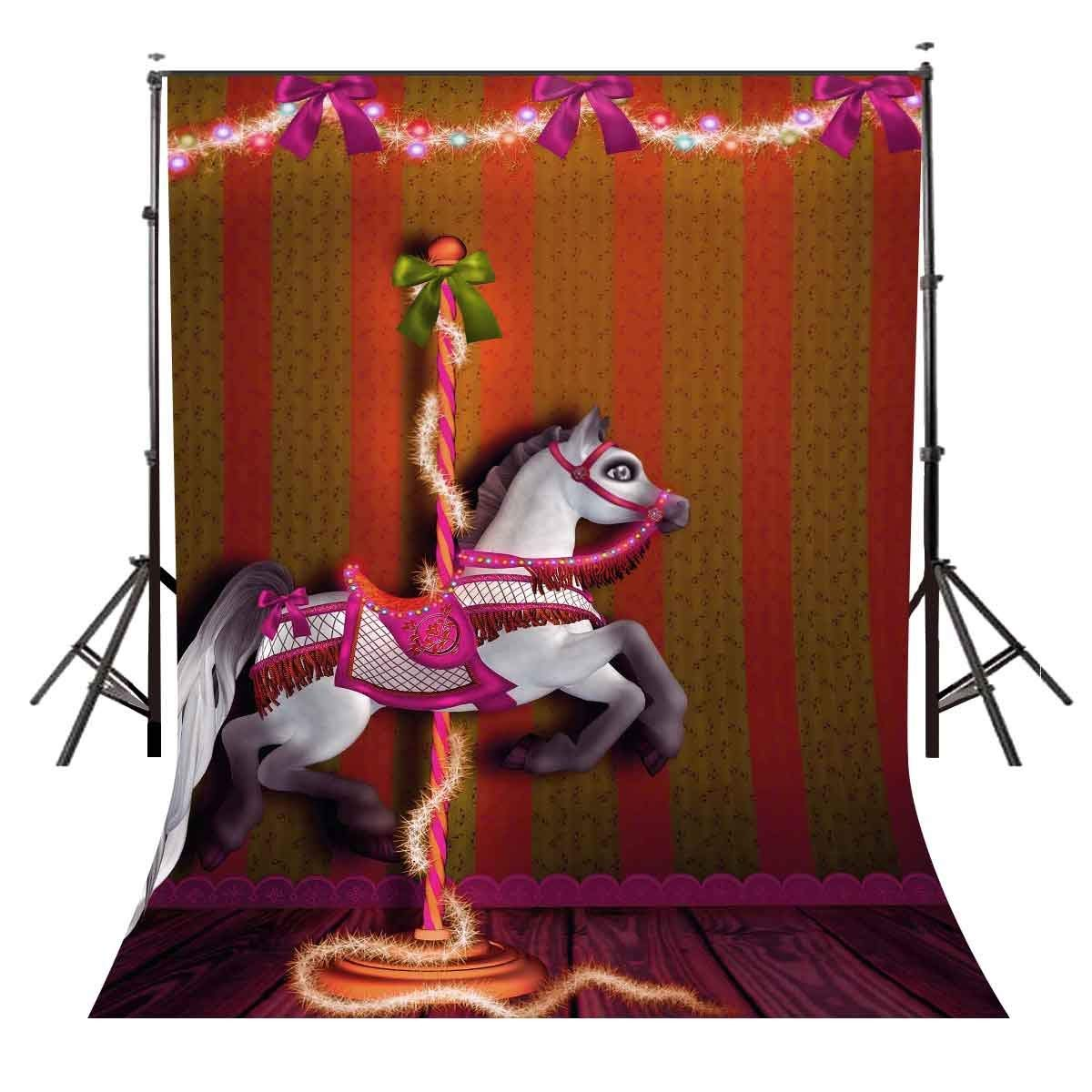 5x7ft Carousel Backdrop Happy Childrens Party Photography Background and Studio Props