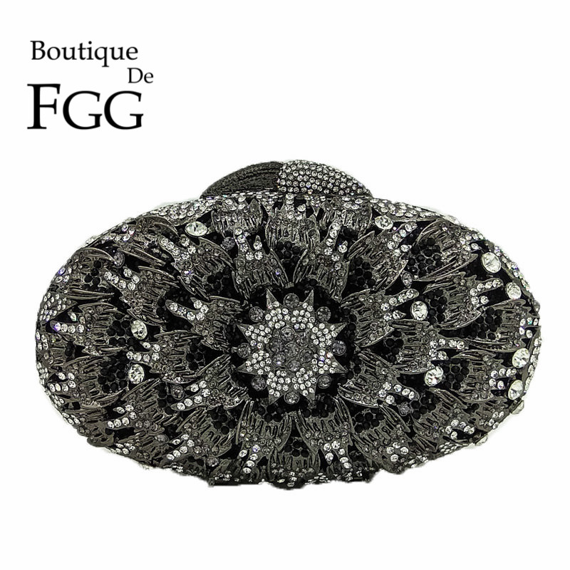 Boutique De FGG Black Jet Flower Crystal Evening Purse Handbag Luxury Diamond Rhinestone Wedding Party Clutch Minaudiere Bag карабин black diamond black diamond rocklock twistlock