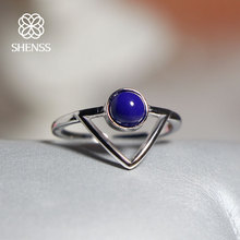 SHENSS Elegant Quality 925 Sterling-Silver-Jewelry Ring For Women Vintage Triangular Blue Stone Open Ring SR0008