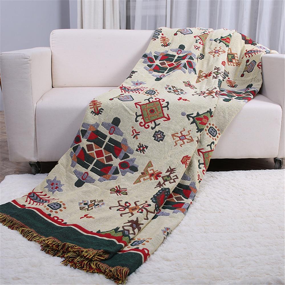 Ethnic Boho Cotton Blanket Knitted
