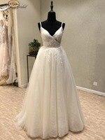 New Fabulous Long Wedding Dress 2018 V Neck Spaghetti Strap A Line Appliques Tulle China Bridal