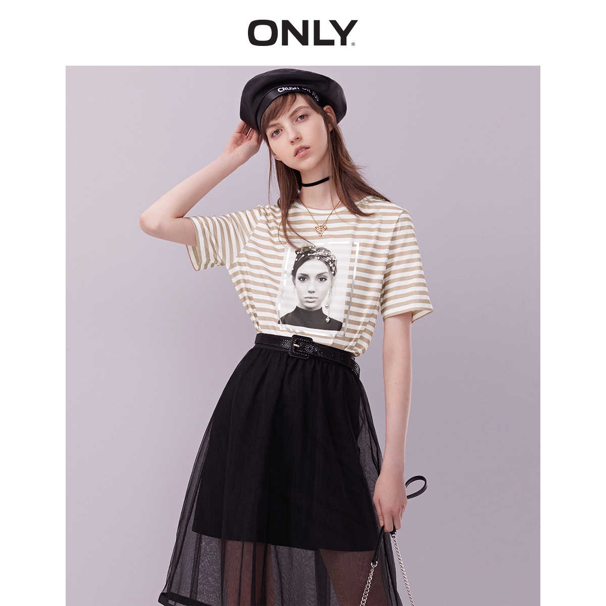ONLY  Spring Summer New Women's 100% Cotton Loose Fit Short-sleeved Printed T-shirt |119101594