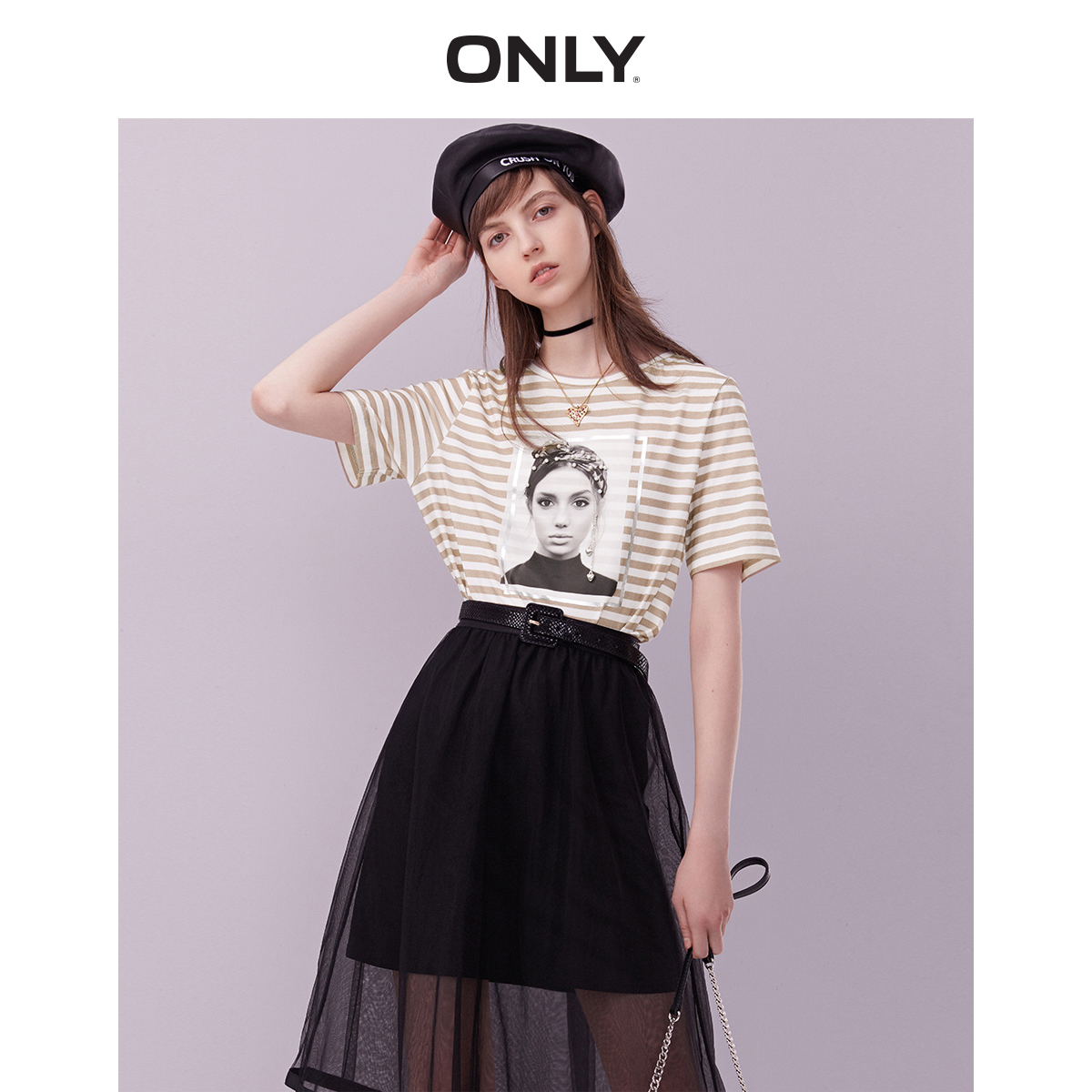 ONLY 2019 Spring Summer New Women's 100% Cotton Loose Fit Short-sleeved Printed T-shirt |119101594