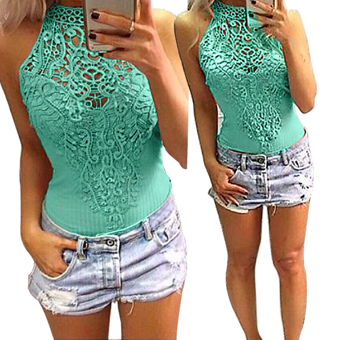 Sexy Top Selling Sleeveless Tops Shirts Rompers Lace Crochet Knitted Thread Stretch Bodysuits Jumpsuits